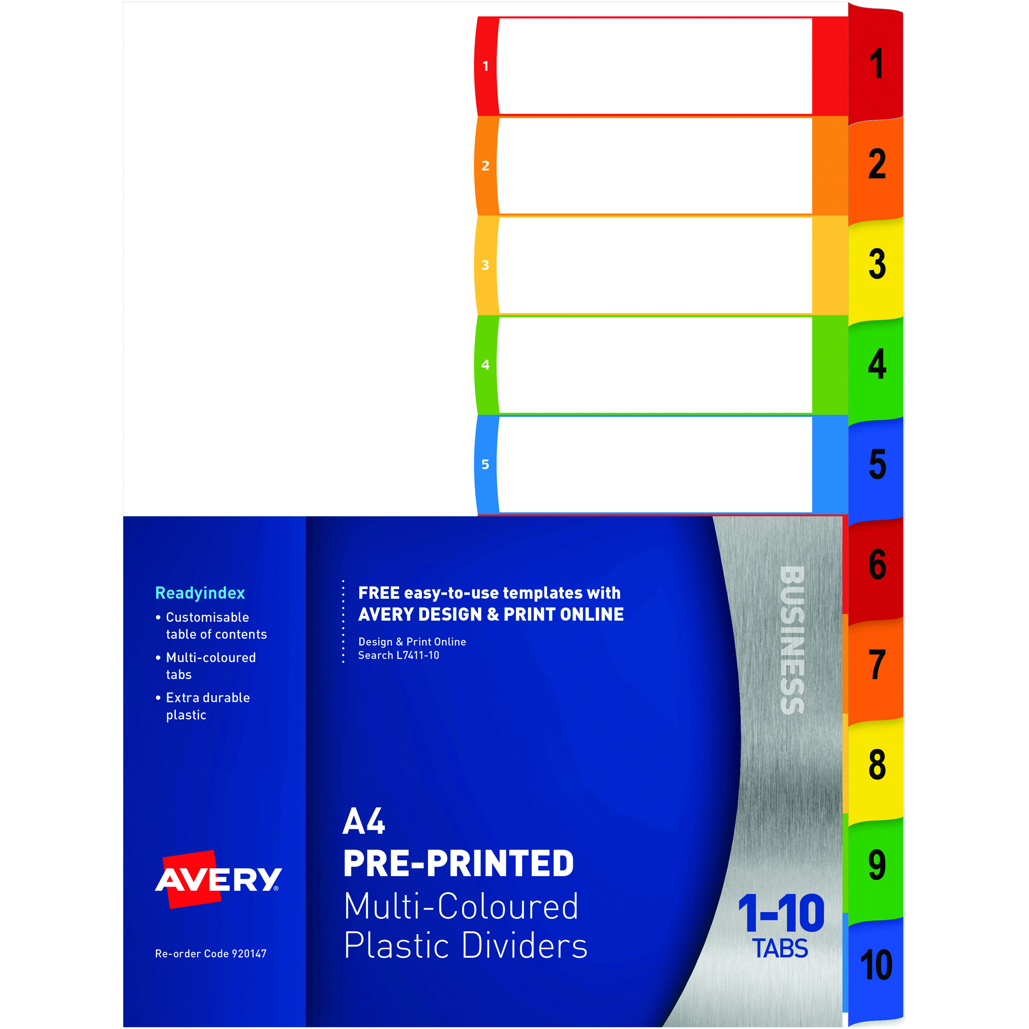 AVERY L7411-10 READY INDEX PP A4 1-10 Index Asstd Tabs Includes 10