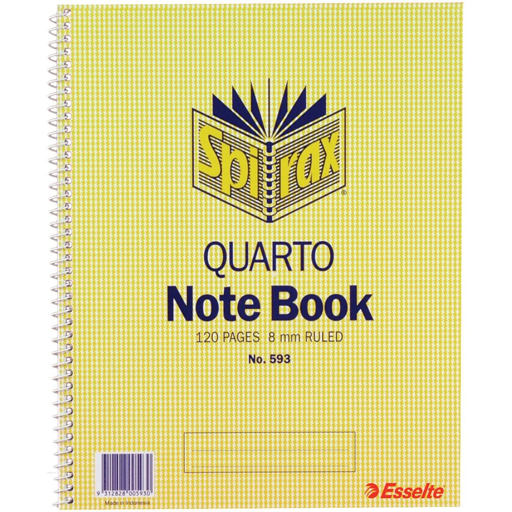Spirax 593 Notebook 250X200mm Quarto 120 Page Side Opening