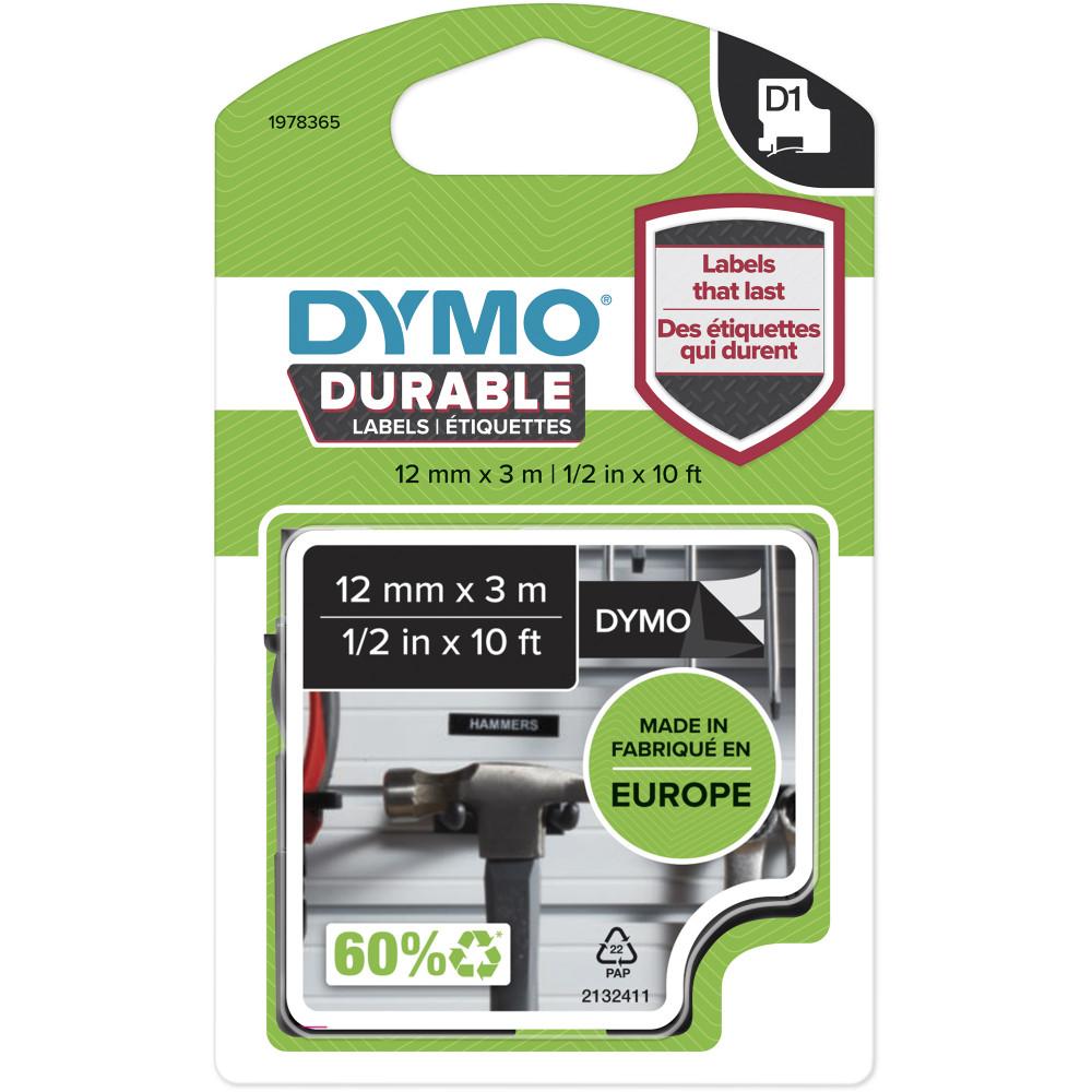 DYMO D1 LABEL CASSETTE TAPE Durable 12mm X 3m White On