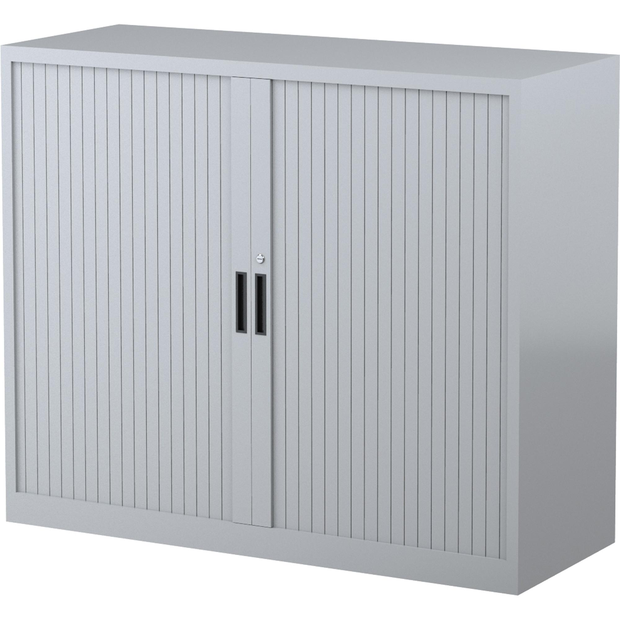 Steelco Tambour Door Cupboard 2 Shelf Silver Grey