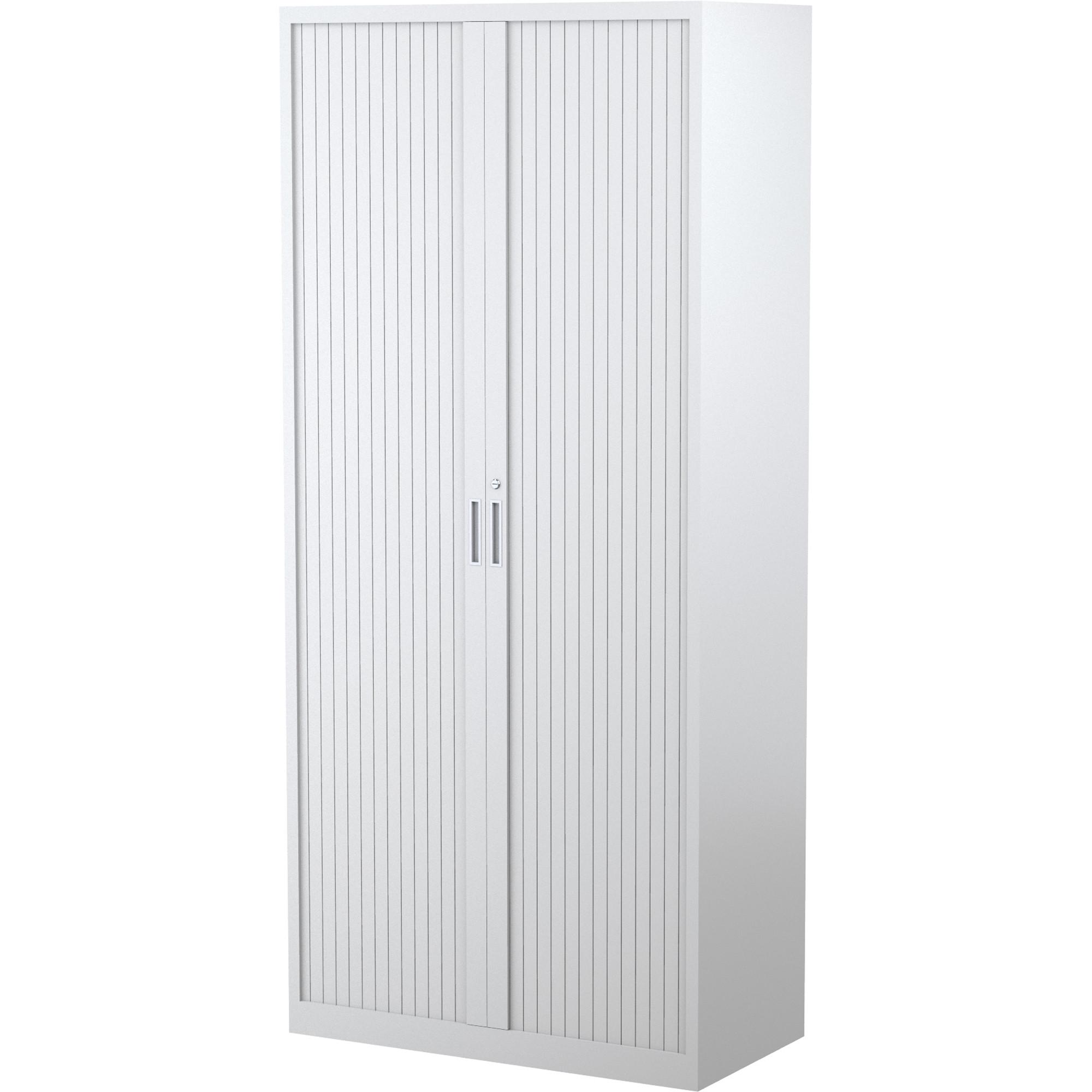 Steelco Tambour Door Cupboard 5 Shelf White Satin