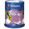 Verbatim Recordable DVD+R 120Min 4.7GB 16X Printable Inkjet Pack of 100 White