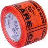 Stylus Label Tape 75x100mm Handle With Care Black on Fluoro Orange