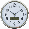 ITALPLAST LCD &TEMP WALL CLOCK 43cm Chrome Frame/White Face