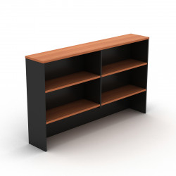 Om Melamine Desk Hutch 1080Hx1200Wx325mmD 4 Shelf Cherry Charcoal