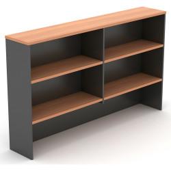 Om Melamine Desk Hutch 1080Hx1500Wx325mmD 4 Shelf Cherry Charcoal