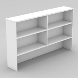 Om Melamine Desk Hutch 1080Hx1500Wx325mmD 4 Shelf All White