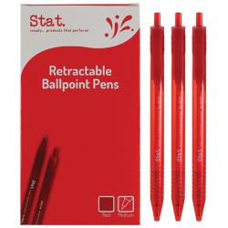 Stat Retractable Ballpoint Pen Medium 1mm Red