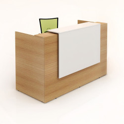 Sorrento Reception Counter Desk 1150Hx1800Wx840mmD White & Beech