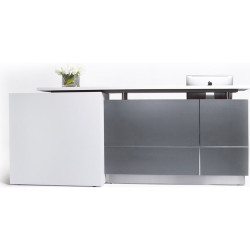 Calvin Reception Counter 2100Wx950Dx1150mmH Metallic Grey/Matte White