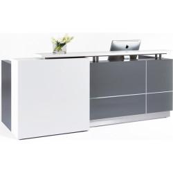 Calvin Reception Counter 2500Wx950Dx1150mmH Metallic Grey/Matte White