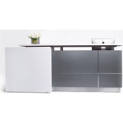 Calvin Reception Counter 3200Wx950Dx1150mmH Metallic Grey/Matte White