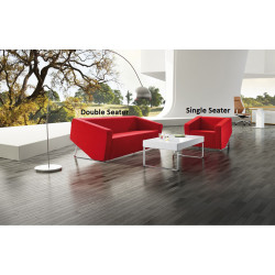 Cube Lounge Two Seater 1430Wx880Hx720mmD Red Leather