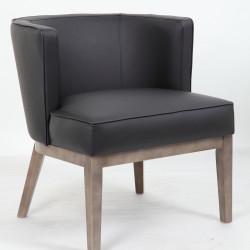 Leo Tub Single Seater Lounge Chair Timber Legs  Black PU Upholstery