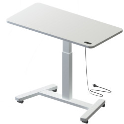 Hot Spot Mobile Sit To Stand Desk Rechargeable Height Range 747mmH to 1167mmH White