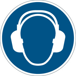 DURABLE SAFETY SIGN - USE EAR PROTECTION Blue
