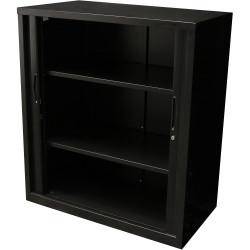 Go Steel Tambour Door Storage Cupboard Includes 2 Shelves 1016Hx900Wx473mmD Black