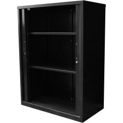 Go Steel Tambour Door Storage Cupboard Includes 2 Shelves 1200Hx900Wx473mmD Black