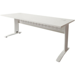 Rapid Span Open Straight Desk 1500Wx700mmD Modesty Panel With White Top & White Steel Frame
