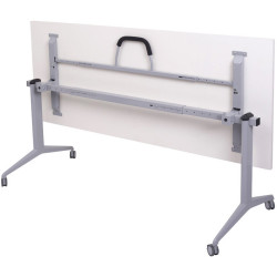 Mobile Flip Top Table 1500Wx750mmD Grey Frame White Top