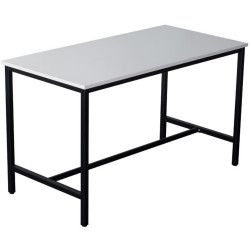 Steel Frame Bar Table Bench Height 1050Hx1800Wx900mmD Black Frame White Top
