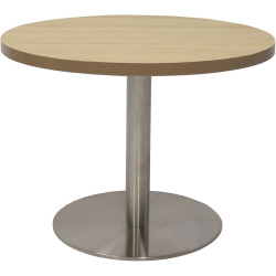 Rapidline Round Coffee Table 600mm Diam Top Natural Oak Stainless Steel