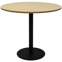 Rapidline Round Meeting Table 900mm Diam Top Natural Oak with Black