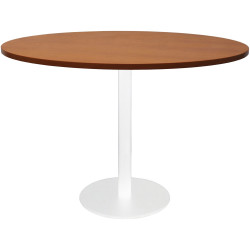 Rapidline Round Meeting Table 1200mm Diam Top Cherry with White Satin