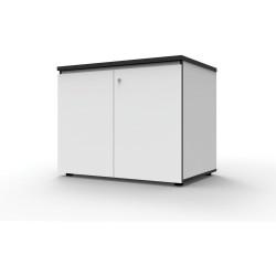 Infinity Swing 2 Door Storage Cupboard 730Hx900Wx600mmD Natural White with Black Edge