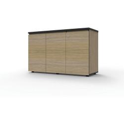 Infinity Swing 3 Door Storage Cupboard 730Hx1200Wx450mmD Natural Oak with Black Edge