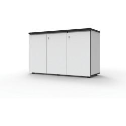 Infinity Swing 3 Door Storage Cupboard 730Hx1500Wx450mmD Natural White with Black Edge