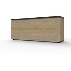 Infinity Swing 4 Door Storage Cupboard 730Hx1800Wx450mmD Natural Oak with Black Edge