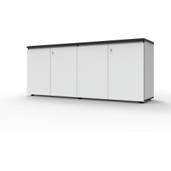 Infinity Swing 4 Door Storage Cupboard 730Hx1800Wx450mmD Natural White with Black Edge