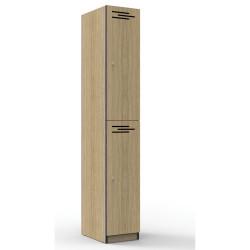 Infinity Melamine Locker  2 Door 1850Hx305Wx455mmD Oak with Black Edging