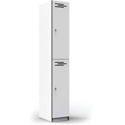 Infinity Melamine Locker  2 Door 1850Hx305Wx455mmD White with Black Edging