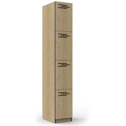 Infinity Melamine Locker  4 Door 1850Hx305Wx455mmD Oak with Black Edging