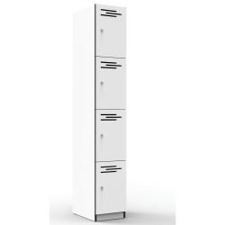 Infinity Melamine Locker  4 Door 1850Hx305Wx455mmD White with Black Edging