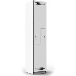 Infinity Melamine Locker  Step Door 1850Hx380Wx455mmD White with Black Edging