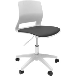 Viva Meeting Room Chair Height Adjustable with Castors White Poly Shell Black PU Seat