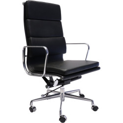 PU900H High Back Executive Chair Chrome Base and Arms Black Padded PU Seat and Back