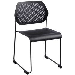 Frame Stackable Visitor Chair Black Solid Rod Sled Base Black Poly  Seat and Back