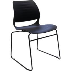 Vivid Meeting Chair Black Metal Sled Base Black Poly Shell
