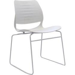 Vivid Meeting Chair White Metal Sled Base White Poly Shell