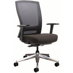 Buro Mentor Mesh Back Task Chair Aluminium Base With Arms Black Fabric Seat Mesh Back