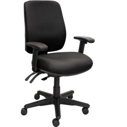 Buro Roma High Back Task Chair 3 Lever With Arms Black Fabric Seat and Back