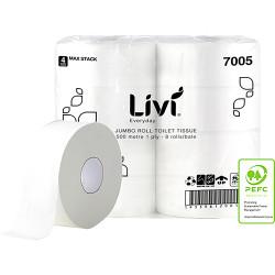 Livi Basics Toilet Paper Rolls 1 Ply Jumbo Roll 500m Box of 8