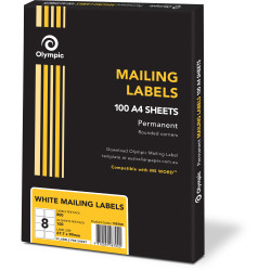 Olympic Mailing Label 8 Per Sheet 67.7x99.1mm Box of 100