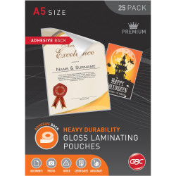 GBC Laminating Pouches A5 125 Micron Adhesive Back Pack of 25