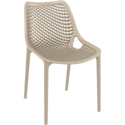 Air Indoor Outdoor Cafe Chair Extra Strong UV Stabilised Polypropylene Taupe