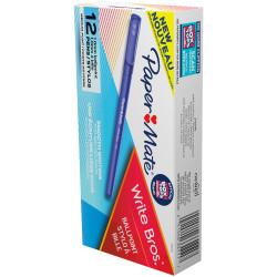 Paper Mate Write Bros Ballpoint Pen Medium 1mm Blue Pack of 12